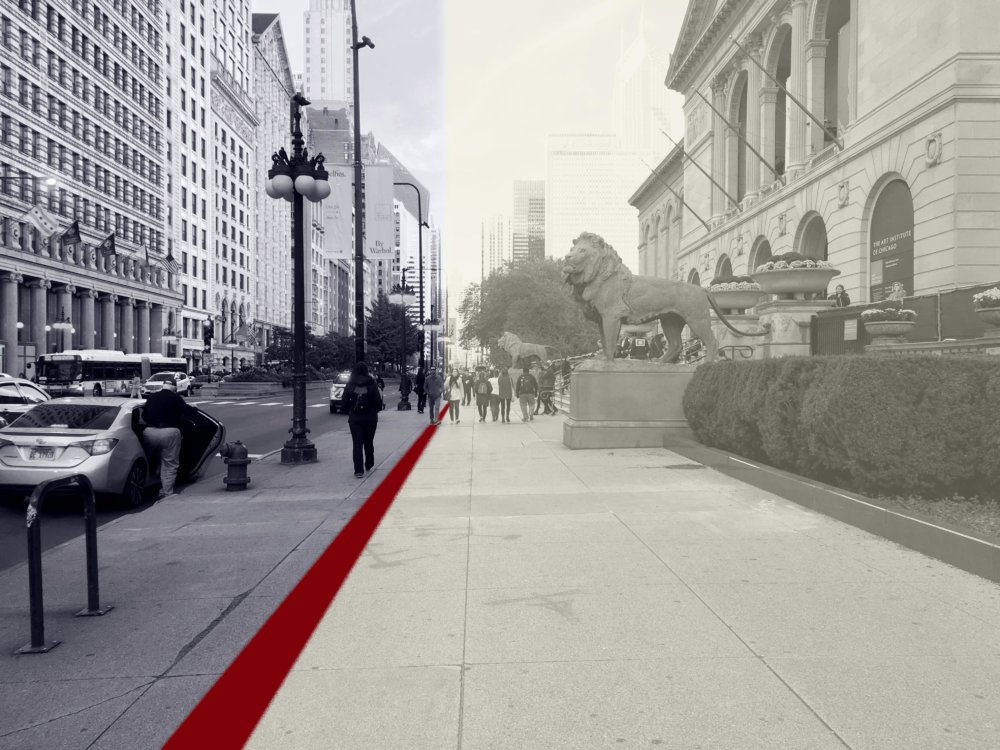 a red line super imposed on a black and white photo of the sidewalk by the art institute of Chicago