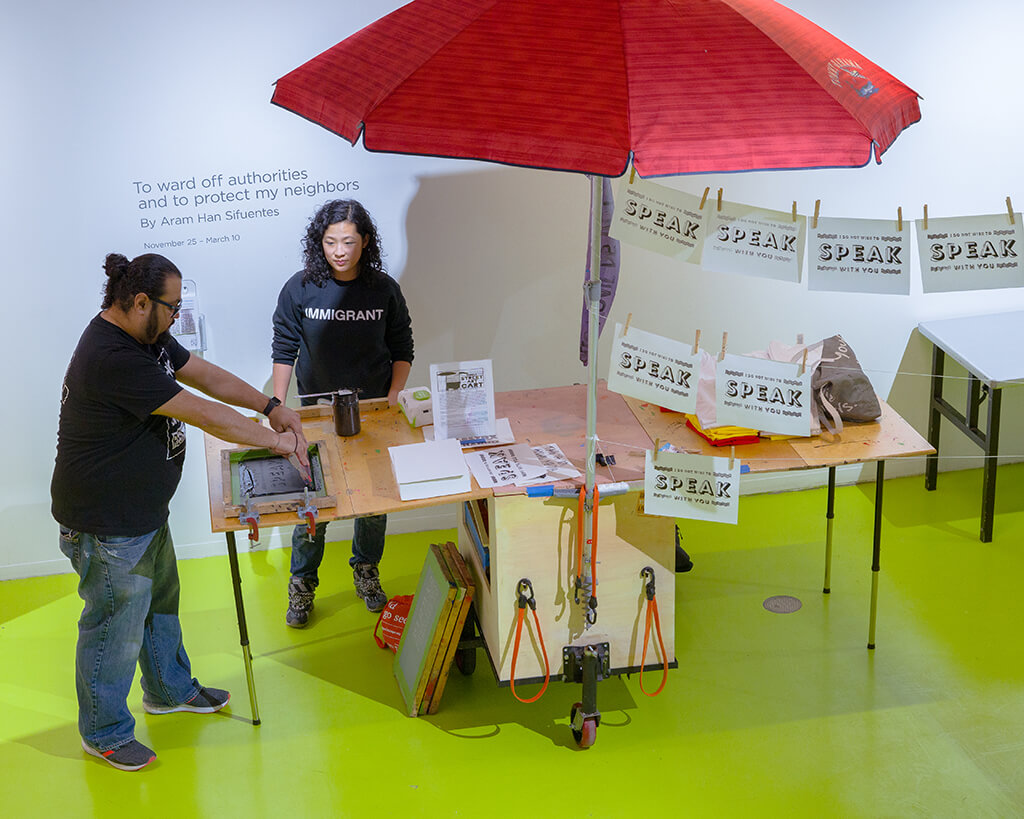 table with voting box showcasing the installation